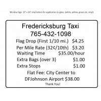 Outside Taxi-Rate Window Sign