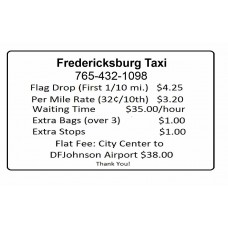 Outside Taxi Rate Vinyl Door Sign